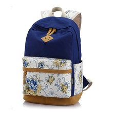 Brand Genuine Quality Floral Leather Canvas Bag Backpack School for Teenager Girl Laptop Bag Printing Women Backpack L7-1036(China (Mainland))