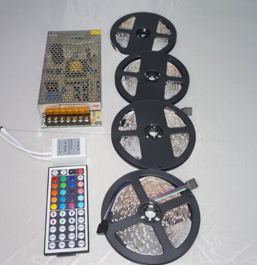 RGB LED Strip 20M 1200Led 3528 SMD + 44Key IR Remote Controller+12V 10A Power Flexible Light Led Tape Home Decoration Lamps(China (Mainland))