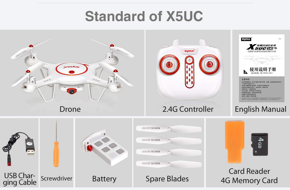 New Syma X5UC 2.4G 4CH 6Axis RC Drone With 2MP HD Camera Fixed High hover 3D Roll One key land Quadcopter Helicopter Gift