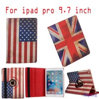 50pcs For iPad Pro 9.7 Case PU Leather Rotating Cover for iPad Pro Case 9.7 inch UK and USA Flag Cover Case for iPad Pro 9.7