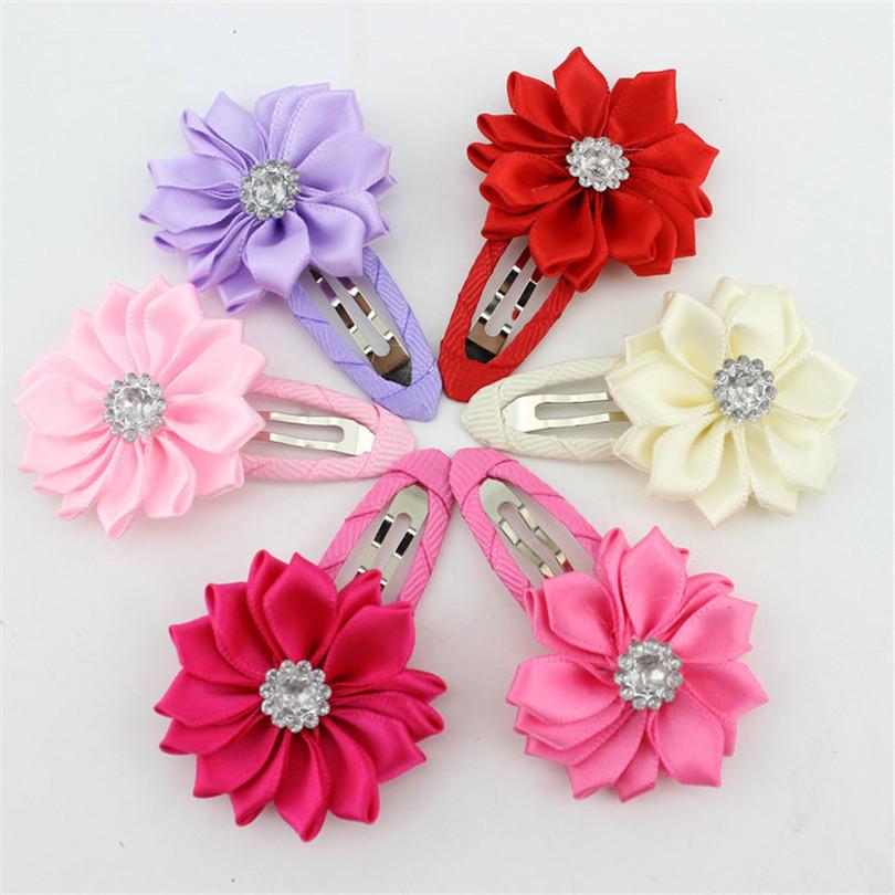 girl hairclip rhinestone mini satin flower hair clip children hairpins DIY baby girl hair accessories