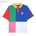 Qlychee Harajuku Summer Women Polo Shirt Contrast Color Loose Short Sleeve lady Top Leisure Female Casual