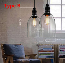 American vintage style Pendant Lights Glass Lampshade Kitchen Industrial Penant Light Crystal Bell yc Lamp Fixtures E27 110-240V