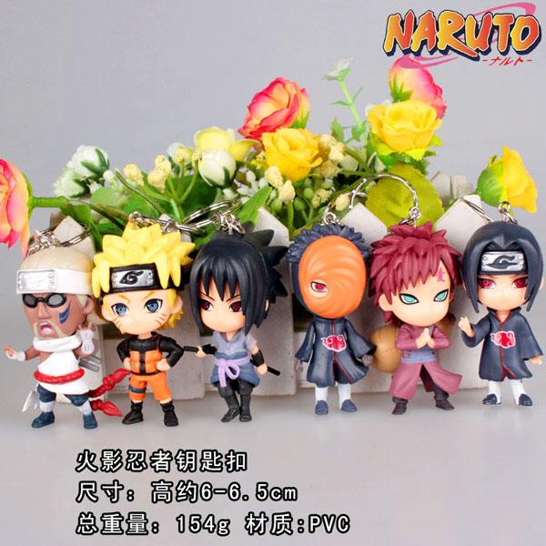 6PCS/Set Naruto Sasuke Gaara Itachi Obito Killer B key Ring Collection Minifigures Model Action Figures Doll Toy Mini Gifts #FB(China (Mainland))