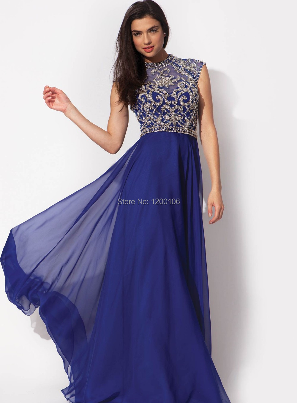 Royal blue and gold dress - Dress on sale