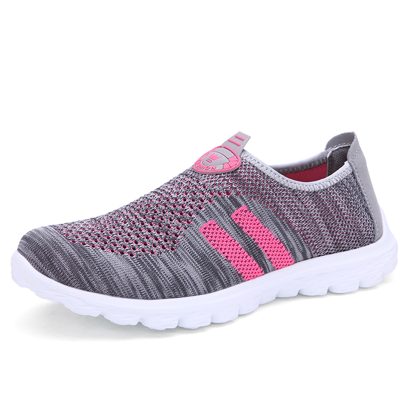 New 2015 Lovers Summer Sneakers Women Shoes Men Casual Breathable Flyknit Slip On Gym Flat Shoes Light Trainers Zapatos Walk(China (Mainland))