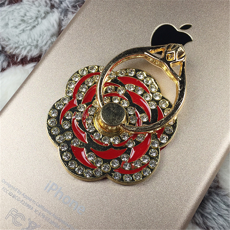 2016 New Arrival luxury Rose flower Bling Diamond ring Holder Universal Mobile phone Metal Finger Grip phone Stand hot sale(China (Mainland))