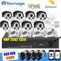 Techage 8CH 5MP POE NVR CCTV System 8pcs 4MP POE Outdoor Waterproof IP Camera Plug and