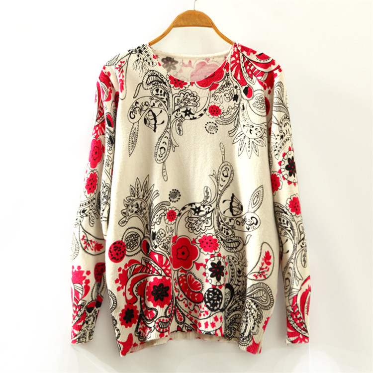 New Autumn Christmas Fashion Sweaters Women Loose Knitted Pullovers Long Sleeve Round Neck Double Printed Sudaderas Jersey Mujer(China (Mainland))