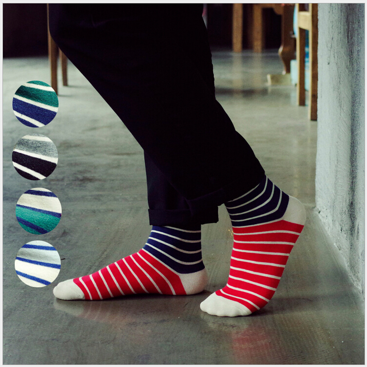 5 styles new design contrast color stripes high quality combed cotton autumn winter casual simple style brand men socks(China (Mainland))
