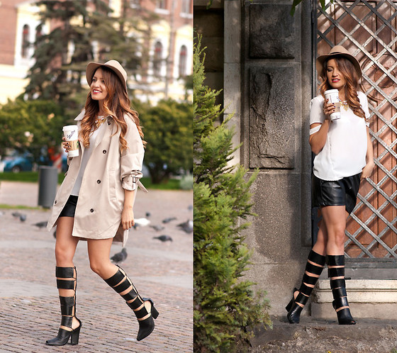 Sexy Pointed Toe Chunky Heel Knee High Gladiator Sandals Black Leather Cutout Women Summer Boots<br><br>Aliexpress
