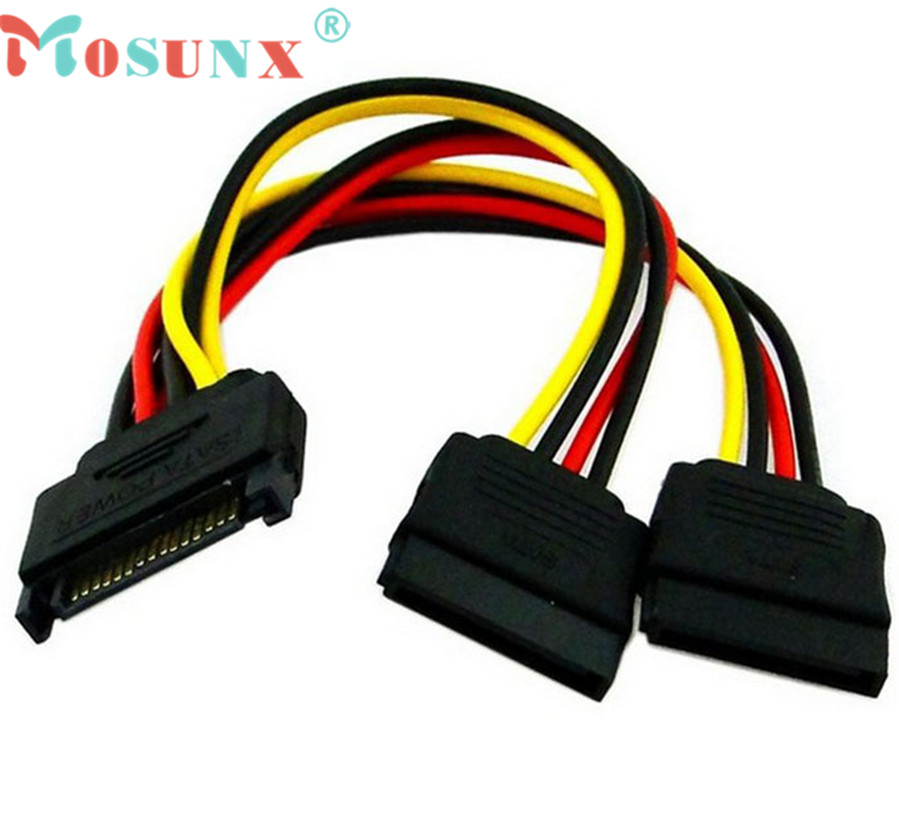 Ecosin2 Mosunx 2017 15Pin SATA Male Plug To 2 Female 15Pin Power HDD Splitter Connector Cable 17Mar15(China (Mainland))