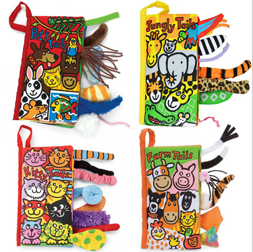 10 pages 21*11cm Animal Tails cloth book Activity Book Baby Toy Cloth Development Books Learning & Education Unfolding books(China (Mainland))