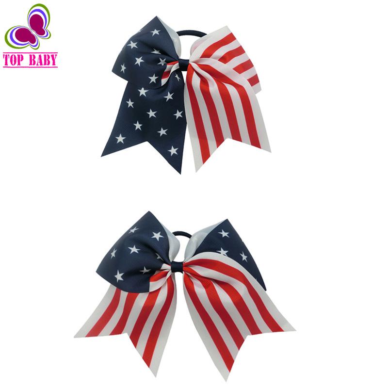 Custom 4th July Baby Girls Printing Stars Patriotic Cheer Hair Bow Ponytail Ribbon Cheerleading Bows(China (Mainland))