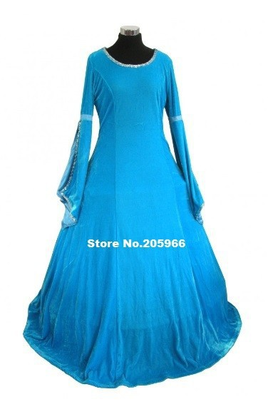 Blue Velvet Fabric Ladies Deluxe Quality Medieval Renaissance Costume Cosplay Dress Victorian Dress Stage Costume