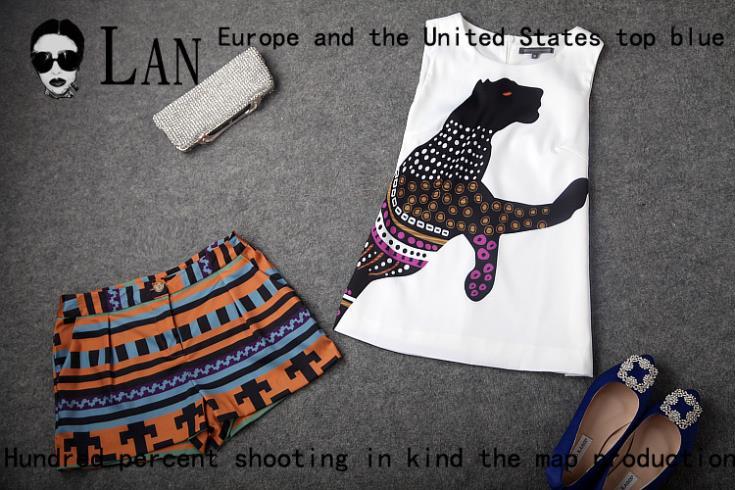 2014 summer new women's European American big leopard print women sleeveless blouse striped pants suit mixed - Simple Men store