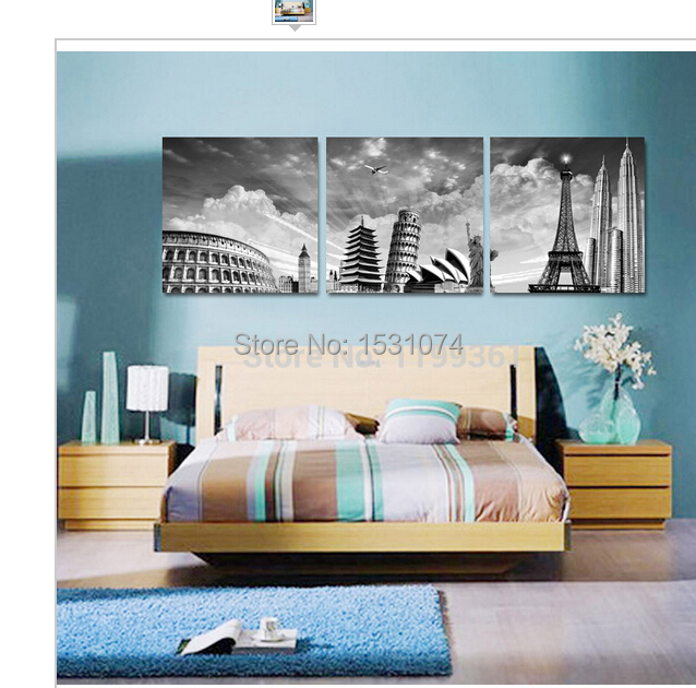 3 Panel Modern Home Decoration Wall Art Black White New York Paris Italy Australia Oil Painting Picture(China (Mainland))