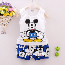 2016 Cotton Kids Clothing Summer Baby Boy Set And Girl Clothes Set (Vest+Shorts) Cartoon Children Outfit Multi-Colors 7M-3T(China (Mainland))