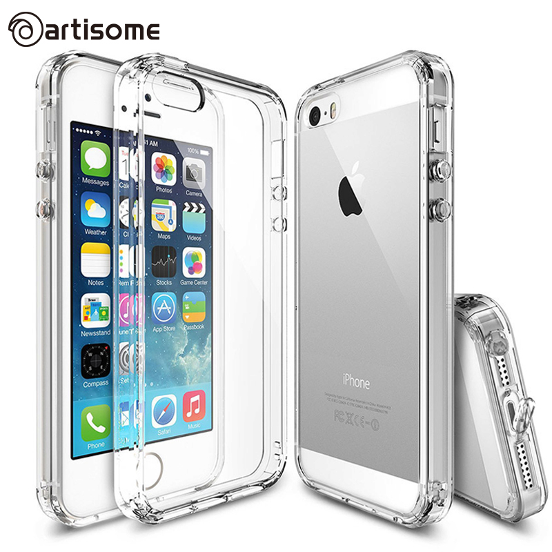 Anti-knock Case For iPhone 5S / SE / 5 Cover Crystal Clear Acrylic + Silicone TPU For iPhone 5S Phone Bag Cover Case ARTISOME(China (Mainland))