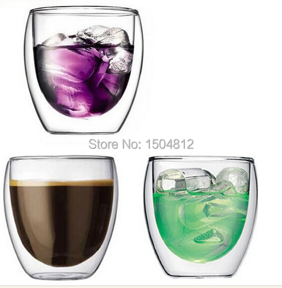 Free shipping 6PCS/lot of 250 ml glass tea set double deck glass cup double cup double wall cup(China (Mainland))
