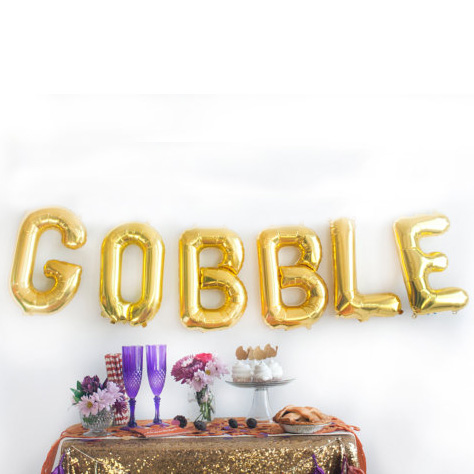 """6pcs/bag 16inch Letter """"Gobble"""" foil Balloons thanksgiving day party supplies Halloween party decoration(China (Mainland))"""