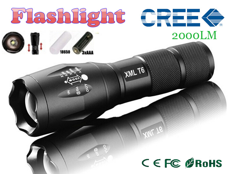 LED Torch Zoomable Cree LED Flashlight E17 CREE XM-L T6 LED 2000Lumens Torch light for 1x18650 3xAAA rechargeable lighting light(China (Mainland))