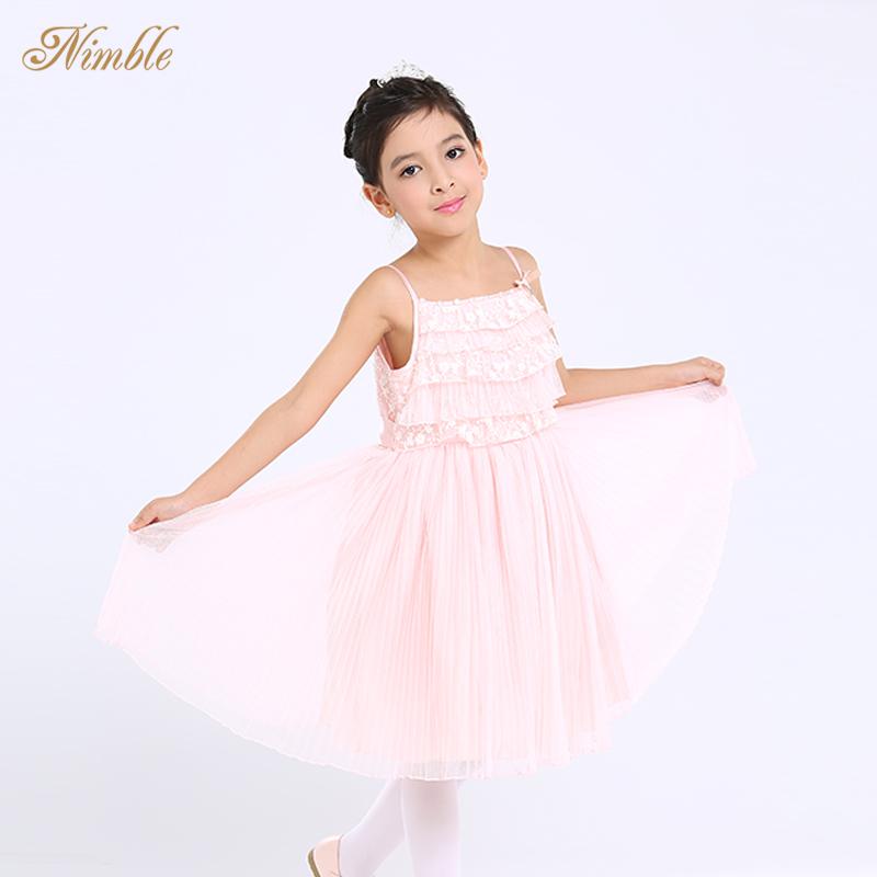 Spaghetti Straps Tulle Girls Holiday Dress Shoulder Pleated Kids Chiffon Midi Lace - Dongguan Jiahao Apparel & Fashion Co., Ltd store