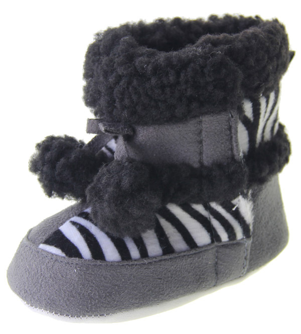 1 piece drop shopping Direct From Factory Gray And Black Plush Unisex Baby Boots Toddler Shoes #tl009(China (Mainland))