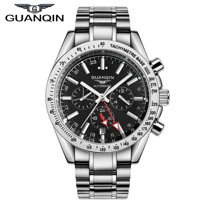 Фотография Watches Men Mechanical Automatic Movement Luxury Top Brand GUANQIN Stainless Steel Watchbands Waterproof Relogio Masculino 2016
