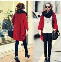 Korea Loose Shawl Batwing Sleeves Lady Knit Sweater Coat Woolen Women Cardigans