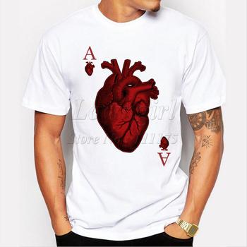 new arrivals 2015 men's fashion designer heart poker t-shirt Harajuku funny tee shirts Hipster O-neck cool tops