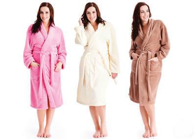 femmes lady luxe super doux molleton peignoir de bain wrap v tements de nuit dans peignoirs de. Black Bedroom Furniture Sets. Home Design Ideas