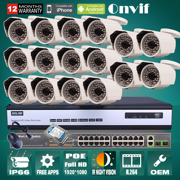 Megapixel 1080P HD Outdoor IP Camera POE Network Surveillance Onvif 16CH H.264 NVR Security CCTV System 6TB HDD 24CH POE Switch(China (Mainland))