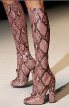 2015 Unique Design Woman Fashion Runway Snakeskin Leather Thick Heels Knee High Boots Round Toe High Heel Boots  (China (Mainland))