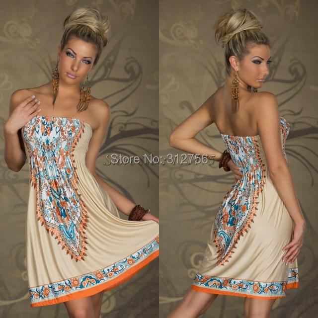 New Arrival 2014 Women Summer Dress Wrapped Chest Waist Dress Bohemian Milk Silk Ice Silk Casual Dress Hot Sale(China (Mainland))