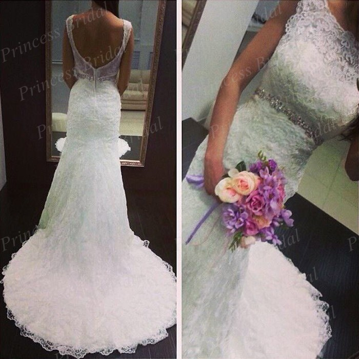Lace Mermaid Wedding Dress Ireland : Free shipping noble low back mermaid boat neck court train