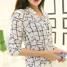 Summer Style Shirt 2015 New Arrival Fashion Printed Three Quarter Sleeve Women Chiffon Blouse Casual Camisa Feminina WCX405(China (Mainland))