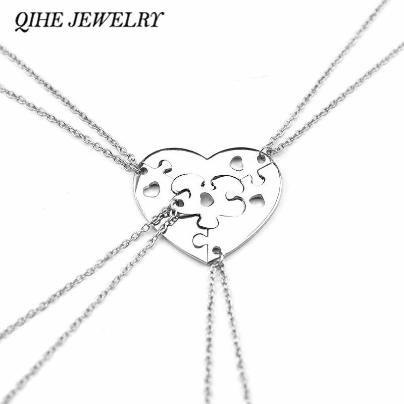 QIHE JEWELRY 4 Piece Heart Puzzle Heart Pendant Necklaces Best Friend Puzzle Necklace Love Necklace Friendship Family Jewelry