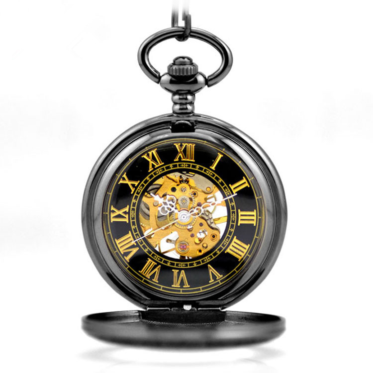 New Luxury Retro Pocket Watch Hollow Men Skeleton Dial Mechanical Hand Wind Core Roman Numerals Watch