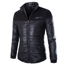 Winter Men's Fashion Padded Jacket Collar Stitching Thick Cotton Coat Outwear Winter Jacket Men