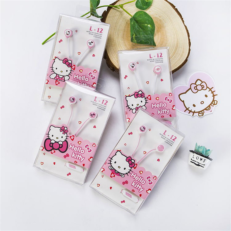 Lovely Hello Kitty Pink 3.5mm In-Ear Stereo Earphones Hellokitty Earbud Headset With Microphone For Phones xiaomi samsung(China (Mainland))