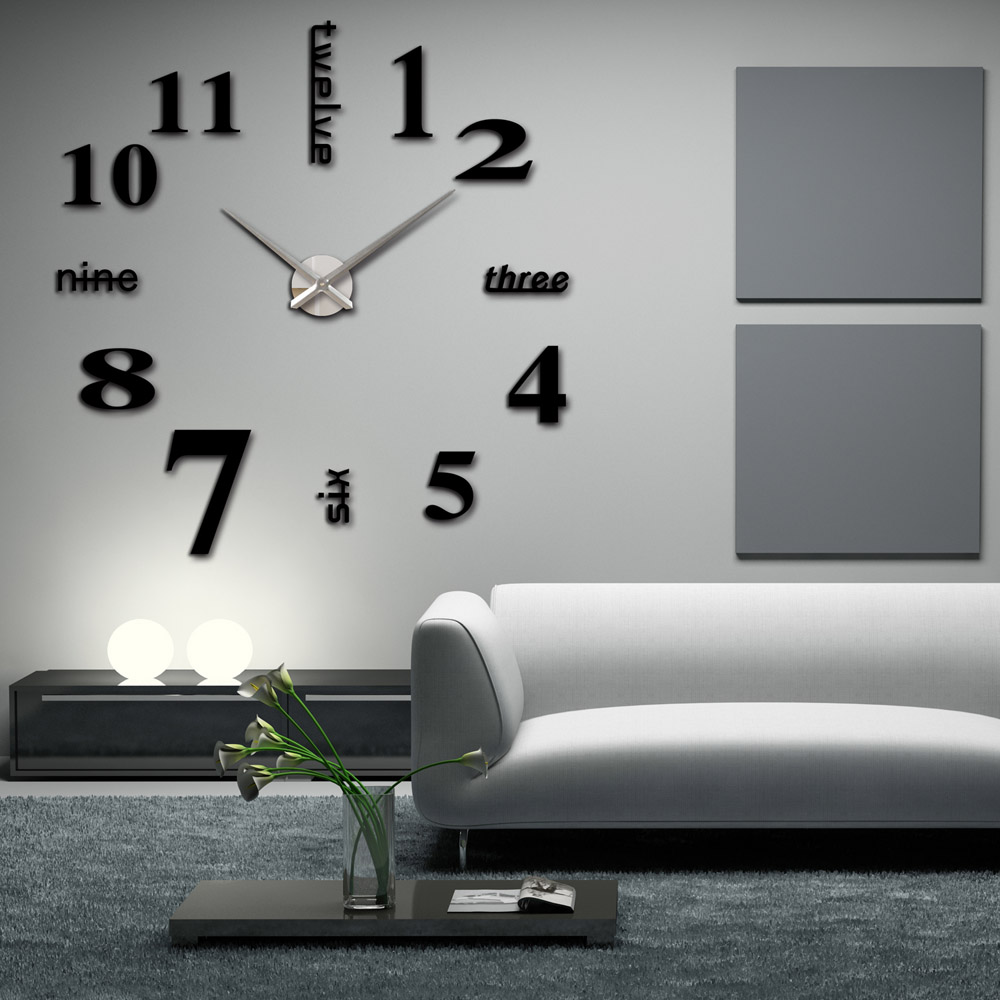 diy large watch wall clock modern design creative stickers. Black Bedroom Furniture Sets. Home Design Ideas