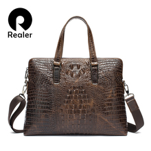 2016 New Genuine Leather Briefcase Men's Crocodile Pattern Leather Handbag With Animal Prints Tote Bags Business Bags For Men(China (Mainland))