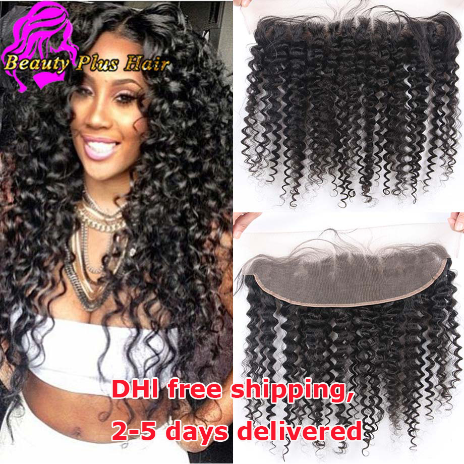 7A Malaysian Curly Lace Frontal Closure Virgin Human Hair 13x4 Full Lace Frontal Closure Ear To Ear Lace Frontal With Baby Hair(China (Mainland))