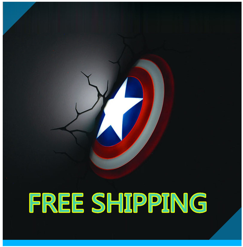 2015 Hot Selling Easter Gifts Sleeping Light Captain America Shield LED Child Wall Night Lamp(China (Mainland))