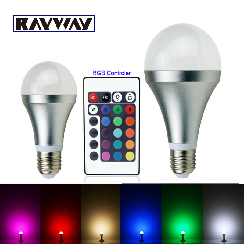 E27 3W 10W RGB Changing 16 Colors LED Light Bulb Lamp spotlight + IR Remote Control fairy lights for wedding bar lampada led(China (Mainland))