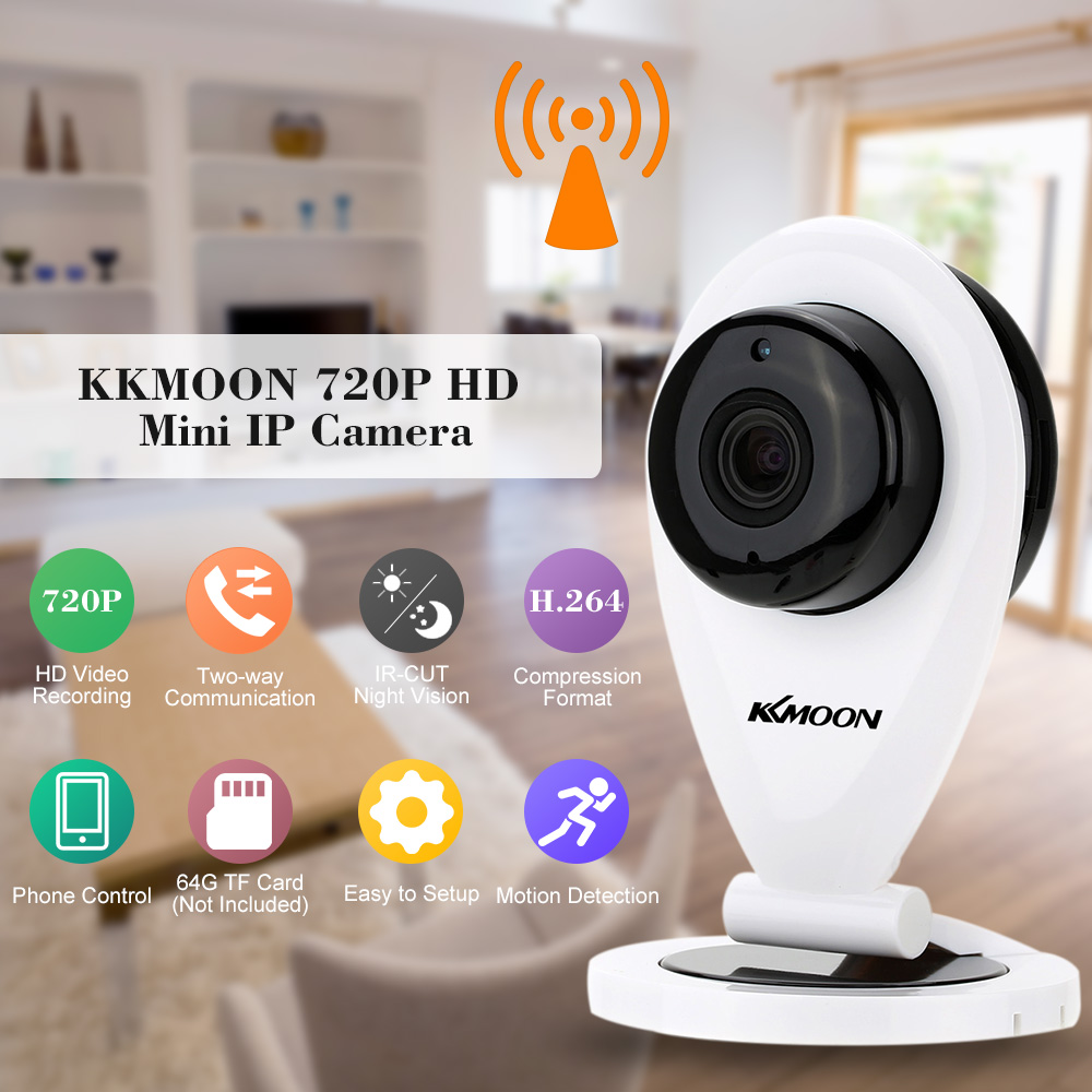 KKMOON Mini Wireless IP Camera Wifi 720P P2P IP Camera Night Vision Remote Phone Control Home Security Camera Support TF Card(China (Mainland))