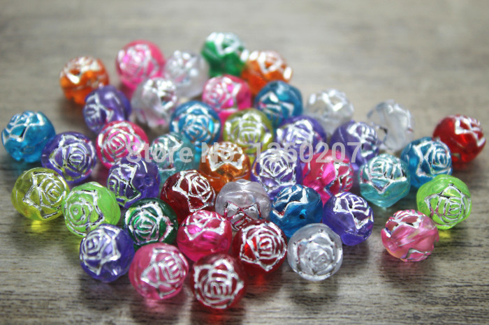 wholesale 500pcs/lot 8mm Mixed colour acrylic beads Acrylic silver Roses Carved Round Beads(China (Mainland))