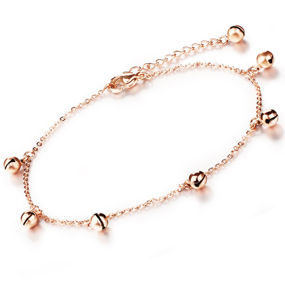 South Korea fashion accessories Titanium steel rose gold plating Lovely girl bell anklets Gifts wholesale GZ012(China (Mainland))