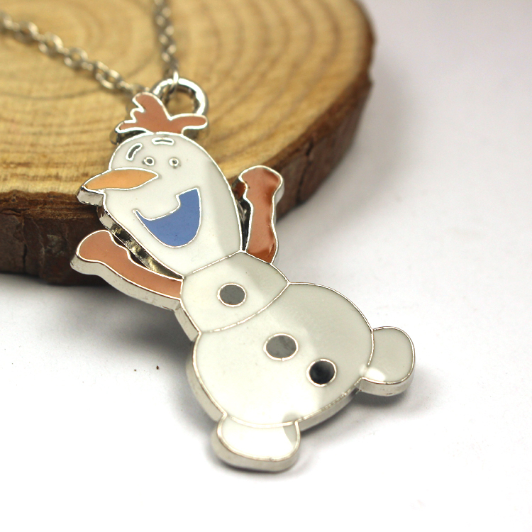 Free Shipping For 1 Pcs High Quality Enamel Snowman Pendant Necklace Christmas Gift Fashion Women Chain Necklace Jewelry 2015(China (Mainland))